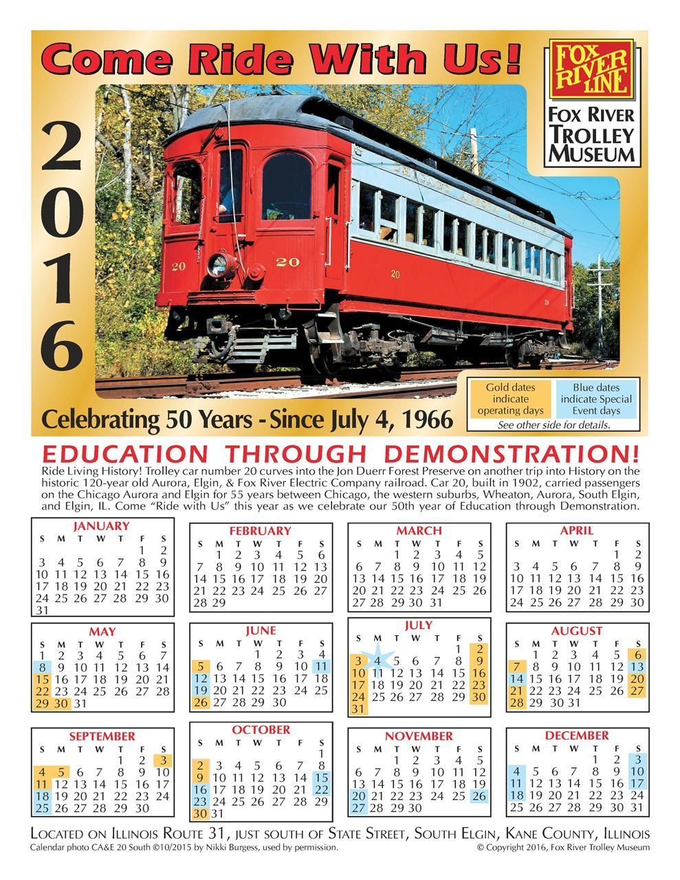 Image of Fox River Trolley Museum 2016 Calendar, Car 20